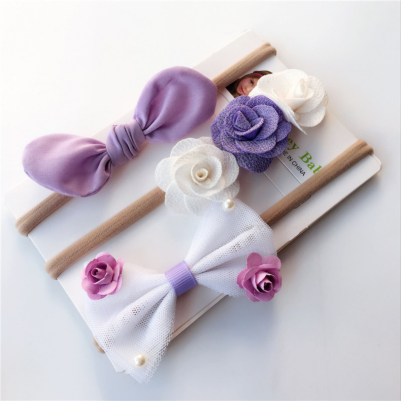 Hot 3pcs Baby Girl Spandex Nylon Rabbit Ear Girls Hairbands Children Skinny Stretchy Flower Hairband Bowknot Baby Accessories multicolor flower bowknot hairband