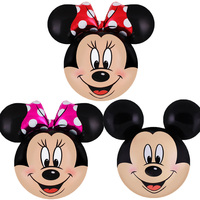 50pcs Disney balloon Large Mickey Minnie head foil balloons Bbay shower girl boy birthday party decorations kids gifts globos