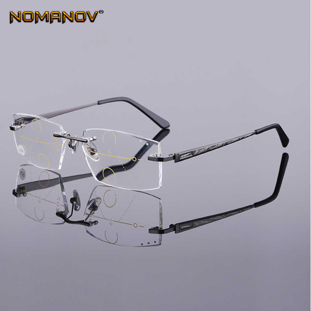 NOMANOV = Progressive Multifocal Reading Glasses Titanium Alloy Rimless Diamond Cut  See Near And Far TOP 0 ADD +0.75 To +4