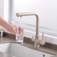new style beige Right angle Kitchen Water Purifier Faucet with Filtered Water Double Spout Kitchen Tap Sink Mixer