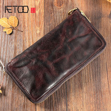 AETOO Original handmade suede leather long wallet Vintage old and full zipper trend wrinkle