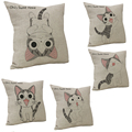 Chi Cat Pillowcase Cotton Linen Animal Cushion Throw Fancy Cushion Kid Gift Chriatmas New Year for Sweet Home Wedding Bedroom