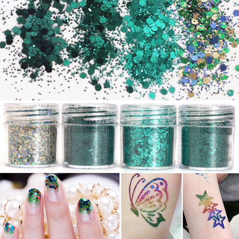 4 Boxes/ in one 10ml Nail Glitter Green Paillette Colorful Sequins Powder  For Art UV Resin Jewelry