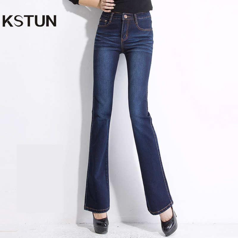 Jeans Women with Embroidery Female High Waist Bell Bottom Slim Jeans Push  Up Deep Blue Denim