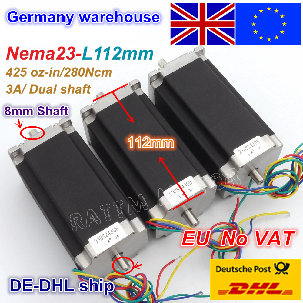 From EU/free VAT 3 pcs NEMA23 stepper motor 57 type 425 Oz-in 280N.cm Dual shaft stepping motor/3A for CNC Router Engraving Mill de ship free vat 4 axis nema23 425 oz in dual shaft stepper motor cnc controller kit