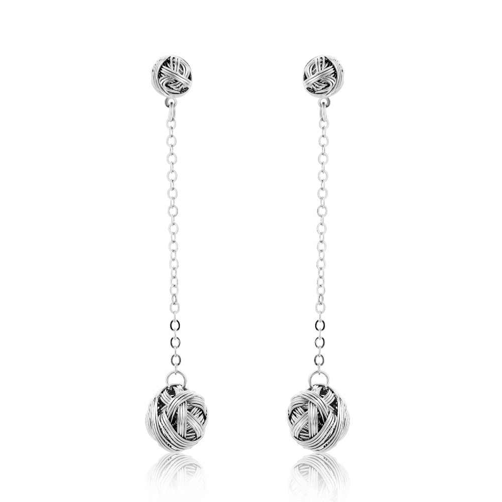 HanCheng New Retro Dangle Hanging Copper Ball Silver Long Earrings Plated Circle Drop Earrings For Women Jewelry brincos bijoux