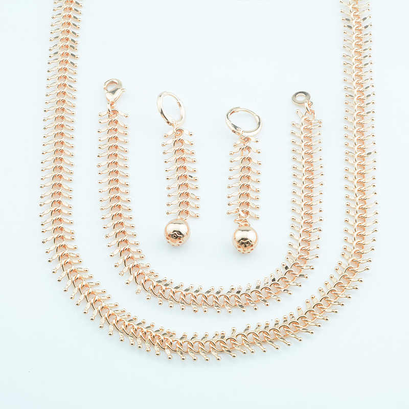10mm Width Men Mens Top Rose Gold Color Curb Big Chains Necklace Set Bracelet Ball Earrings Jewelry Sets