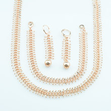 10mm Width Men Mens Top Rose Gold Color Curb Big Chains Necklace Set Bracelet Ball Earrings Jewelry Sets(China)