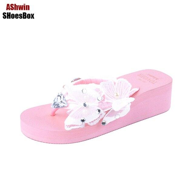6a6c4a057dd7 fashion thong slippers women bohemia sandals beach shoes rhinestones  crystal flip flops handmade butterfly pearls wedge platform