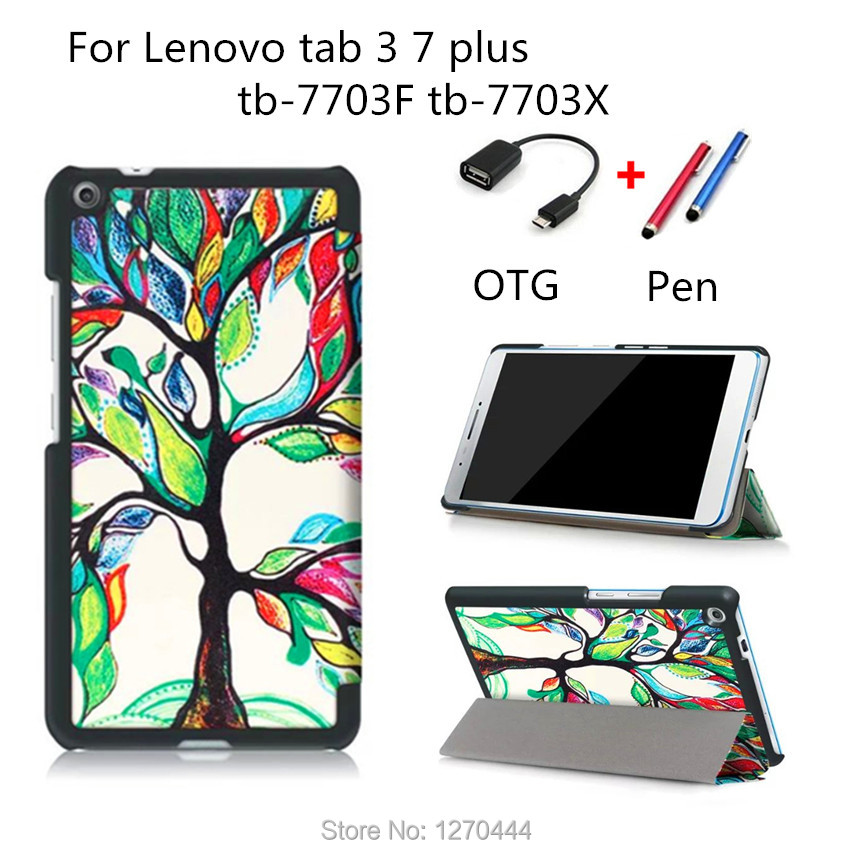 New Colored drawing TAB3 7 plus Leather Case folio stand Cover For Lenovo TAB3 Tab 3 7 Plus 7703 7703x TB-7703X  7.0''+OTG+Pen  pu leather cover for lenovo tab3 tab 3 7 plus 7703 7703x colorful print stand case tb 7703x tb 7703f 7 inch tablet cases gift