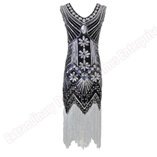 Women 1920 s Vintage Great Gatsby Dress Sequins Dress V-Neck Tassels Bodycon Beaded Party Dress Flapper Dresses Art Deco Double 17
