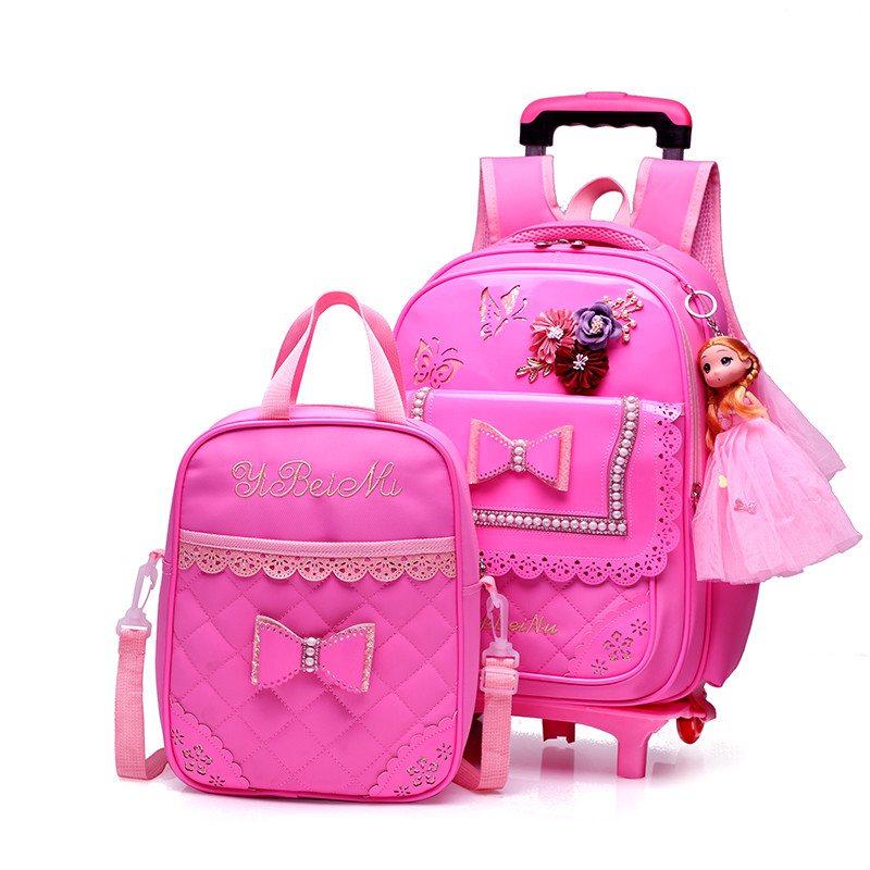 2 wheels Trolley Backpack For Children PU Waterproof Fashion bow-knot Pattern School Bag Detachable Backpack For Girls2 wheels Trolley Backpack For Children PU Waterproof Fashion bow-knot Pattern School Bag Detachable Backpack For Girls