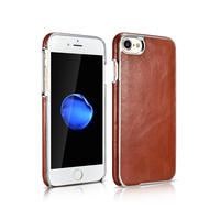 For IPhone 7 Plus Case Luxury Electroplated Vintage Genuine Leather Hard Back Cover For Apple IPhone