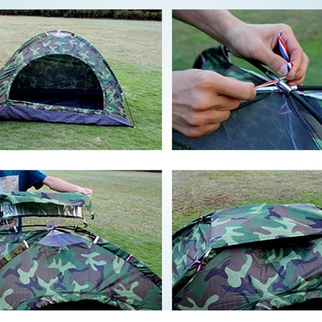 Portable Outdoor Camping Double Persons Tent Waterproof Dirt-proof Camouflage Folding Tent for Travelling Hiking 6