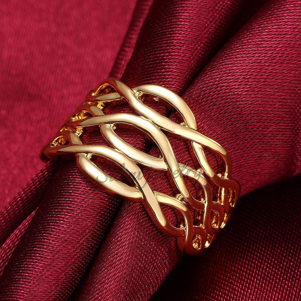 free shipping Popular Simple Design Women And Men 18K Plating Gold ...