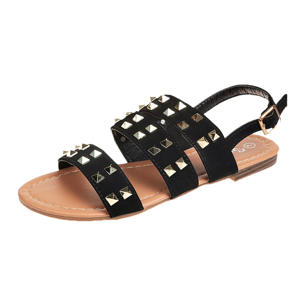 SAGACE 2018 women new quality summer sandals flat Vintage Girls Breathable Rivets Open Toe Buckle Strap Flat Rome SlippersSAGACE 2018 women new quality summer sandals flat Vintage Girls Breathable Rivets Open Toe Buckle Strap Flat Rome Slippers