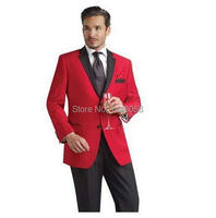 Custom Made Red Jacket Groom Tuxedos Black Notch Lapel Best Man Wedding Suits For Men Blazer