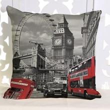 Vintage London City Street View Car almohadas decorativas de algodón de lino Big Ben Art moda británica sofá lanzar Fundas protectoras para almohadas