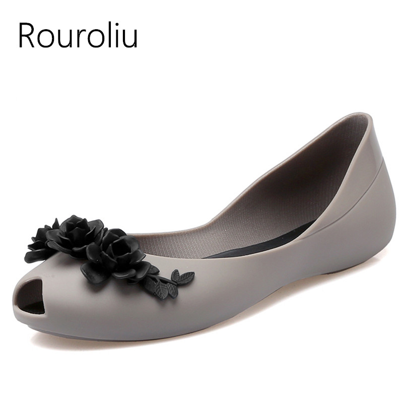 Rouroliu Women Summer Fashion Peep Toe Beach Shoes Flat Heel Appliques Sandals Comfortable Non-Slip Jelly Shoes Woman RB84 2015 summer pointed toe flat heel jelly shoes female slip resistant sandals plastic flat beach women s student shoes page 2