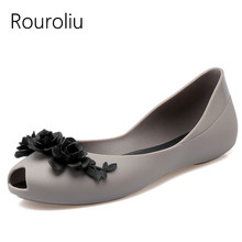 Rouroliu Women Summer Fashion Peep Toe Beach Shoes Flat Heel Appliques Sandals Comfortable Non-Slip Jelly Shoes Woman RB84