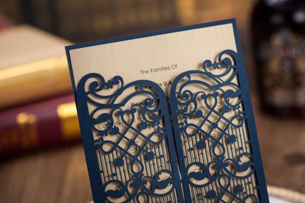 wishmade free shipping laser cut invitation card 50pcs lot elegant