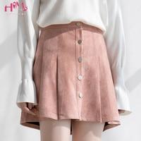 Autumn Suede Skirts For Womens Mini Pleated Skirt Solid Pink Saias High Waist Ulzzang School Girls Femininas Blue Skater Skirt