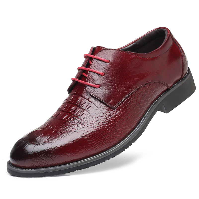 Hommes Crocodile Dentelle jaune Base Formelle Noir Mode rouge Grain Cuir Véritable 637 Nouveau up Chaussures Robe Appartements En De 7End7WqS