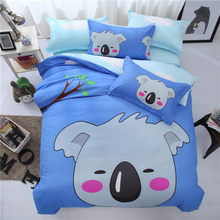 NEW Letter Cartoon Cotoon Bedding Set 4pcs Boy Girl Kids Bedlinens Queen Double Single Size Duvet Cover 1.2m 1.5m 1.8m Bed Sheet(China)