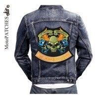 MotoPATCHES Kim Loại Bộ Xương Người Jeans Xe Gắn Máy Áo Khoác Biker Vest Patches Cho Quần Áo Thêu Sắt Trên Patches