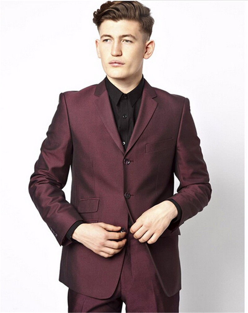 Aliexpress.com : Buy Mens suits wedding groom burgundy suit men ...