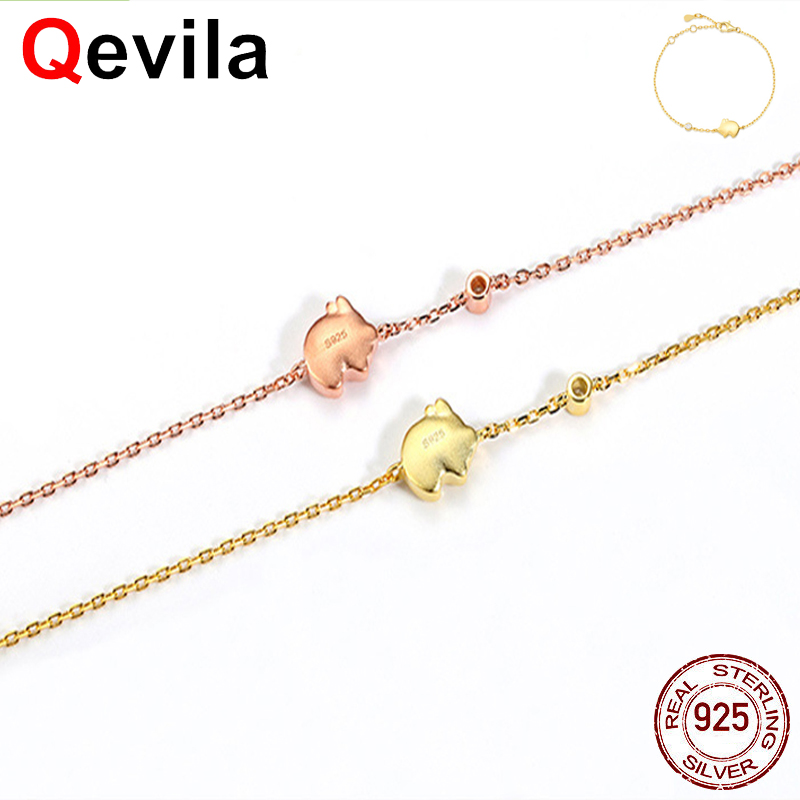 Hospitable Qevila 925 Sterling Silver 18k Gold Anklets New Arrival Cute Flying Pig Ankle Bracelets Leg Foot Jewelry For Women Unique Gifts Anklets Jewelry & Accessories