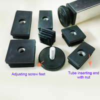 50x50 Mm Square Feet Plug Adjusting Leg Pad End M8 Nut Pre Embedded Tube Insert End
