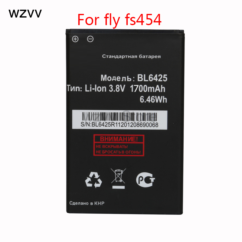 wzvv New 1700mAh Rechargeable Replacement BL6425 BL 6425 Lithium Battery For fly fs454 Batteries + Tracking Code