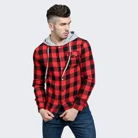 2017 New Fashion Clothing Men Shirt Long Sleeve Trend Hooded Slim Fit Red Checkered Shirt Casual
