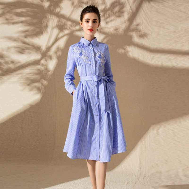 43556a38bd1a7 Detail Feedback Questions about retro office ladies Striped shirt dress  Spring 2019 new Elegant embroidery Summer Casual Full sleeve women Vintage  Party ...