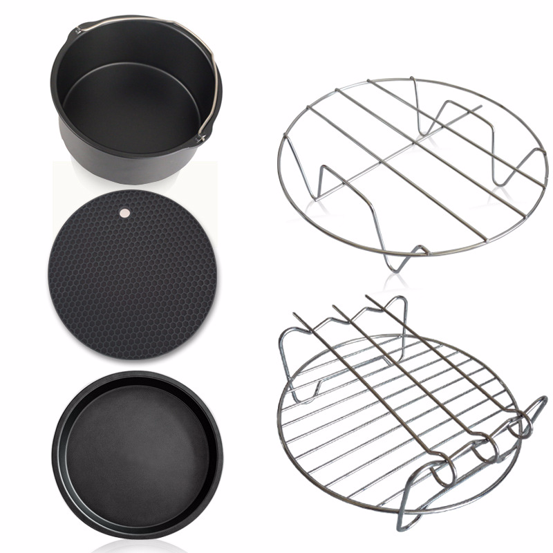 Household air frying pan fittings five sets electric baking basket bake basket pizza dish grill pot grill pan rack bag mail jiqi electric baking pan double side heating household cake machine flapjack pizza barbecue frying grilling plate large1200w