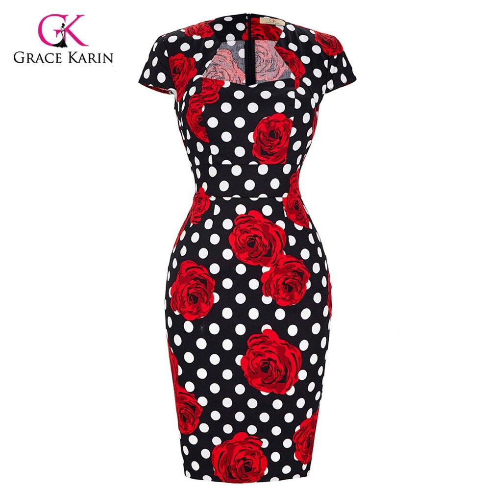Grace Karin Short Evening Dress Plus Size Prom Dress 2018 Bodycon Pencil Sheath Elegant Floral Print Evening Party Formal Gowns