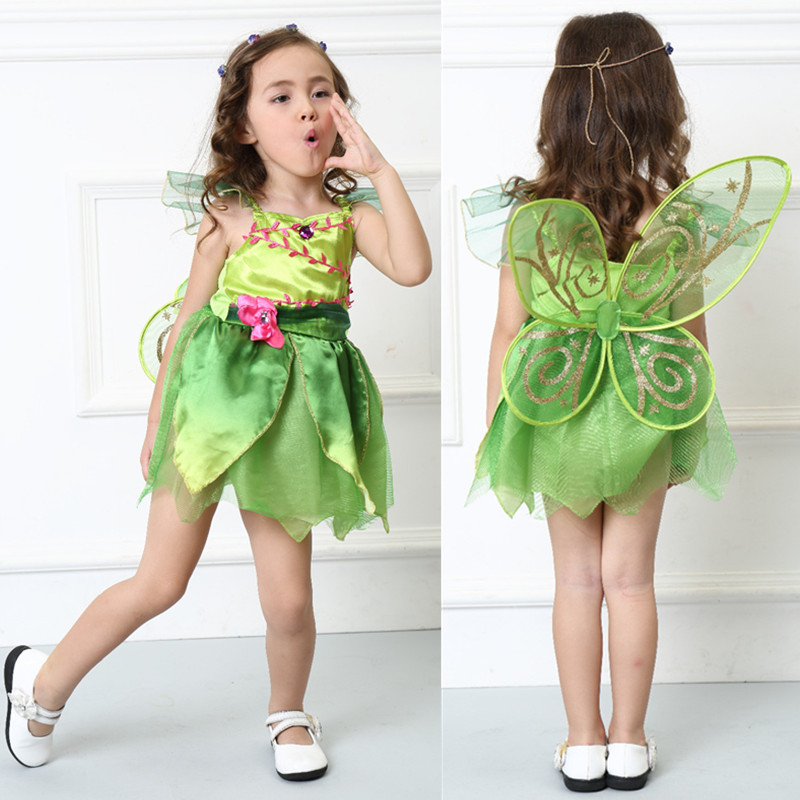 Kids Baby Girls Halloween Party Costumes Flower Fairy Tinker Bell for Women Elf Tinkerbell Princess Dress Costume with Wing