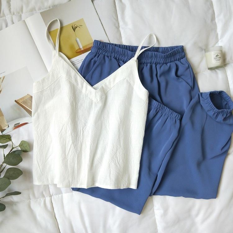 Cotton Linen V-neck Camisole Summer Women Vintage Buttons Cotton Linen Tops Sleeveless Crop Tops 11
