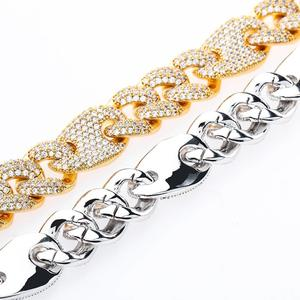 Image 5 - JINAO NEW 16mm Miami Lock Clasp Cuban Link 7 9 Inch  Bracelet Iced Out AAA Cubic Zircon Bling Hip hop Men Jewelry Gift