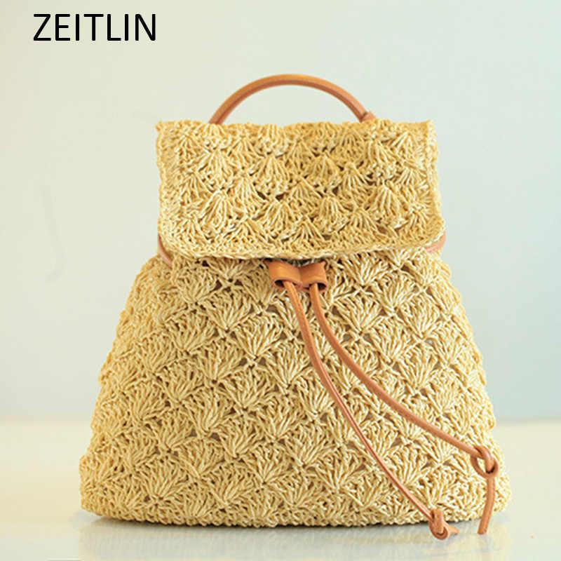 для женщин соломы рюкзак выдалбливают леди Drawstring рюкзак пляжная сумка вязаная