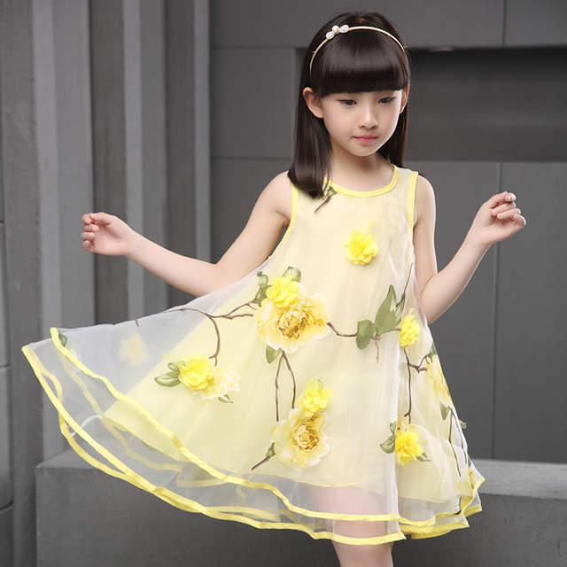 34840c6e528a3 flowers organza big teenage little girls dresses summer 2018 yellow green  sleeveless princess girl party dress kids sundress