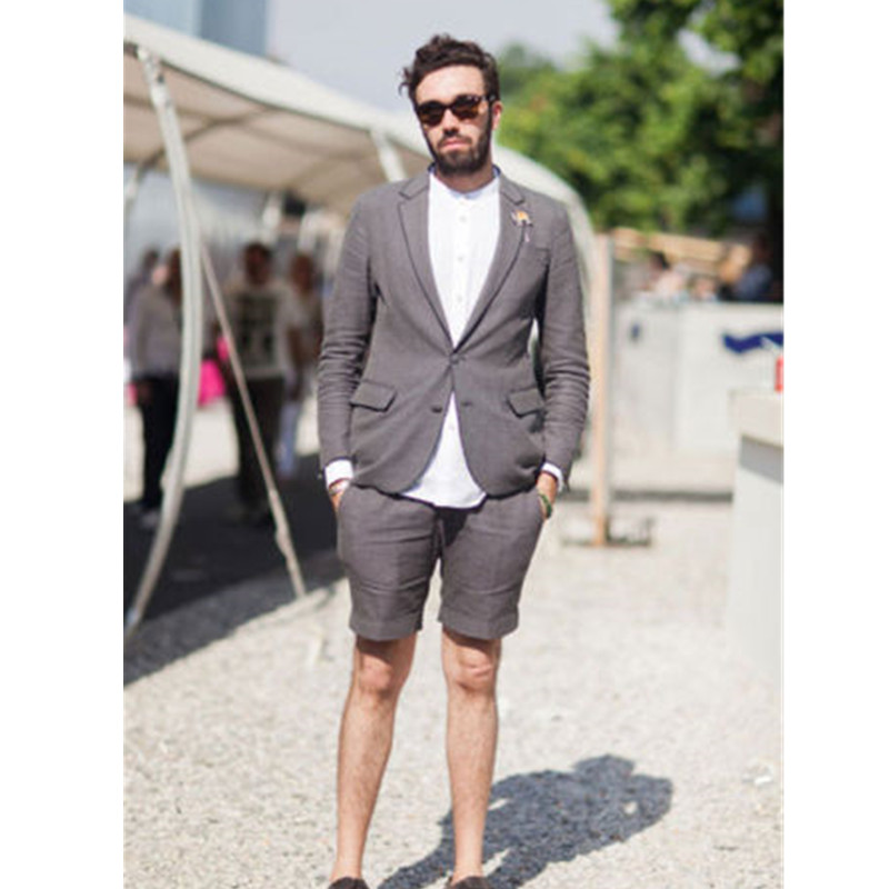 Grey Formal Work Wear Single Breasted Summer Beach <font><b>Men's</b></font> Prom Party <font><b>Suit</b></font> Blazers Custom jacket + <font><b>shorts</b></font> image