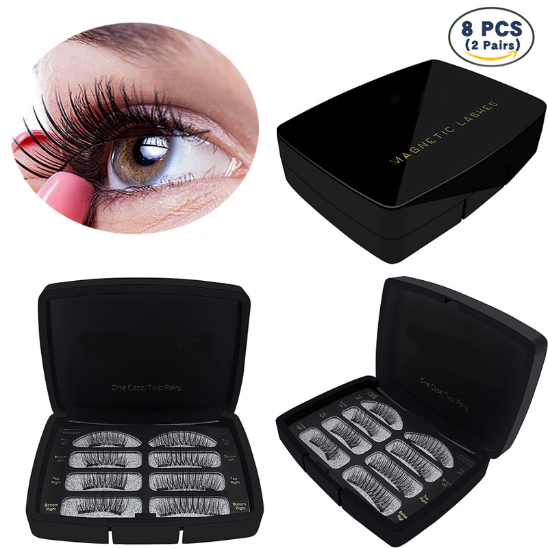 New Individual Magnetic Lashes False Eyelashes 6D Reusable Magnet Fake Eye Lashes Hand M ...