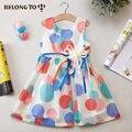 Лето Корейский новая версия дети аппликация круглый точек колен платья без рукавов жилет платье принцессы