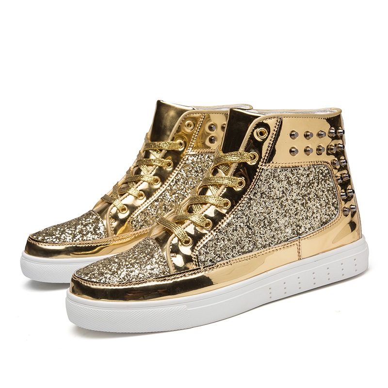 Fashion High Top Sequins Rivet Golden Glitter Skateboard Shoes Outdoor Skateboard Shiny Sport Sneakers  Silver Streetwear Shoes(China)
