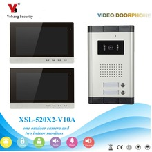 YobangSecurity Video Intercom Monitor 10-Inch Video Doorbell Camera System Intercom Entry Access System for 2 Units Apartment