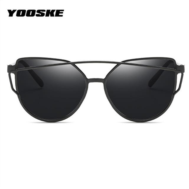 a54429ea29b8b YOOSKE Twin-Vigas de Gato óculos de Sol Olho Mulheres Espelho Reflector  UV400 Plana Rosa