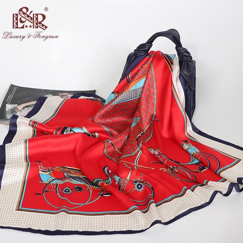 90 90cm Square Silk Scarf Luxury Brand Women Print Neck Scarves Big Foulard Femme Bandana Handkerchief Female Satin Head Scarves in Women 39 s Scarves from Apparel Accessories