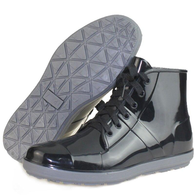 2017 new black pvc rain boots men waterproof boots fashion galoshes low  water shoes bot fishing